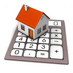A house on the big pocket calculator. White background.