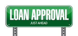 loan approval road sign illustration over a white background